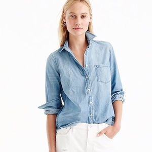J. Crew Always Chambray Button-Up Blue Denim Shirt